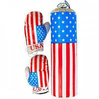 """Дитячий боксерський набір підвісний рукавички і груша кожзам Danko Toys """"Америка"""". Спортивний подарунок дітям"""