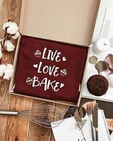 """Фартук для кухни из саржи Arivans """"Live. Love. Bake"""" 78х62х120 см., бордовый"""