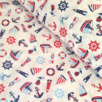 """Хлопковая ткань (бязь) 160см """"Балтика сине-красная"""" на белом"""