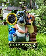 """Садовая фигура """"Волк с собакой на бревне"""" (43х33)"""