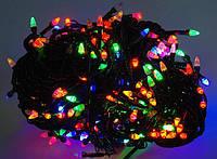 Новогодняя гирлянда для украшения дома LED 200 мультицветная черная 8,5 м (122615). Led гирлянда ДЕКОР