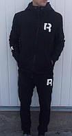 Спортивный костюм Рибок, мужской костюм Reebok, черный хлопковый, на молнии, трикотажный