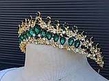 Обруч-діадема з смарагдовим камінням кольору золото (5,5 см), фото 5