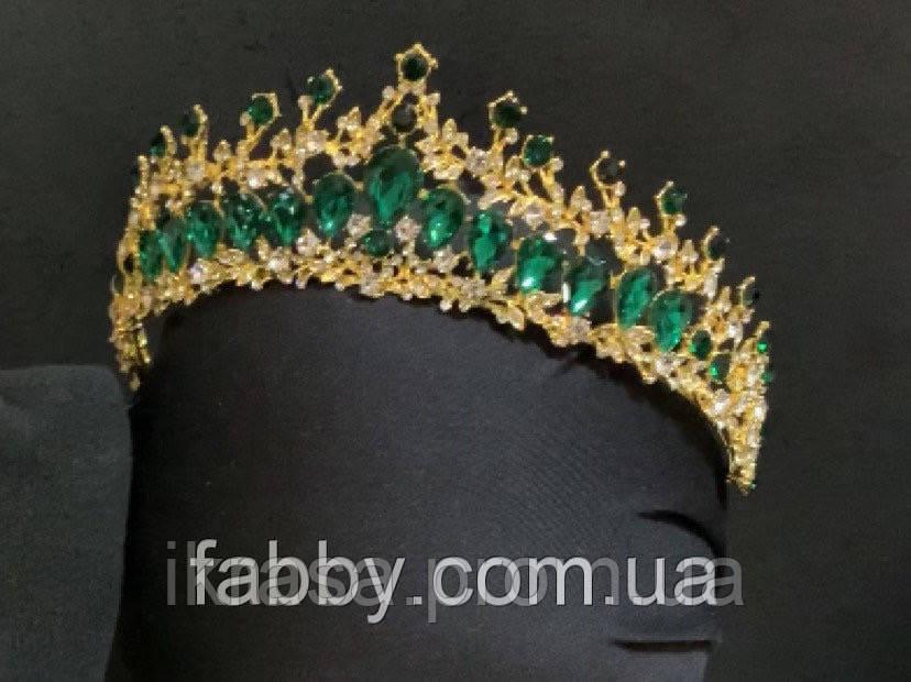 Обруч-діадема з смарагдовим камінням кольору золото (5,5 см)