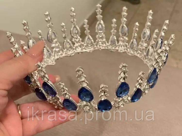 Кругла корона з синім камінням та основую срібного кольору (7см)