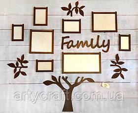 """Деревянный коллаж для фото """"Дерево Family"""" 1,3х1,26 м (Тиковое дерево)"""