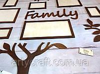 """Деревянный коллаж для фото """"Дерево Family"""" 1,3х1,26 м (Тиковое дерево), фото 4"""