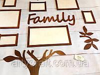 """Деревянный коллаж для фото """"Дерево Family"""" 1,3х1,26 м (Тиковое дерево), фото 3"""