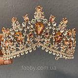 Peachy - золота корона з камінням персикового кольору (7см), фото 3