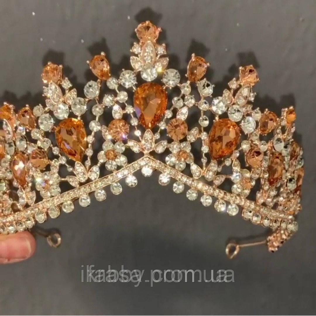 Peachy - золота корона з камінням персикового кольору (7см)