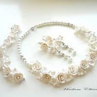 Свадебный комплект украшений с белыми розами, фото 1