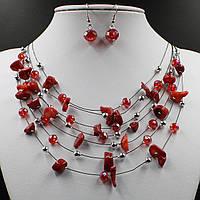 Комплект бижутерии Ожерелье и серьги с камнем