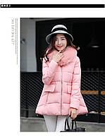 Куртка-парка женская розовая искусственный пух  2018