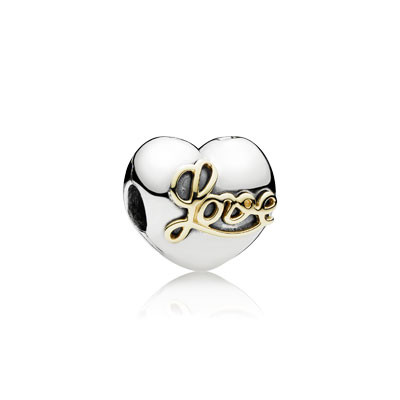 Шарм «Сердце любви» из серебра 925 пробы с золотом
