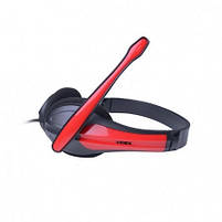 Наушники проводные VIDEX VHD-135M с микрофоном black/red, фото 2