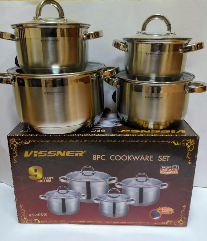 Набор посуды Vissner VS 10810 8 пр. (2,1 л. 2,9 л. 3,9 л. 6,5 л.)
