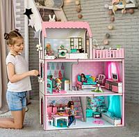 """Кукольный домик для Барби NestWood """"ЛЮКС ЛАЙТ"""" 5 комнат (104 см), без мебели"""