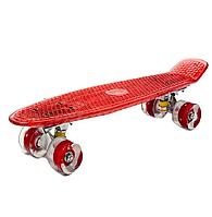 Скейт BT-YSB-0051 пластик.прозрачный, свет.PU колеса 56*15см 1,8 кг 4цв.ш.к.