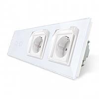Сенсорный выключатель 2 канала Двойная розетка с крышкой IP44 Livolo белый стекло (VL-C702/C7C2EUWF-11)
