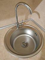 Круглая кухонная мойка Platinum 490 Decor 0,8мм