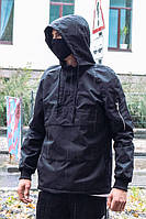 Черная весенняя куртка-анорак непромокаемая с капюшоном и флисовой подкладкой Пушка Огонь 8043038
