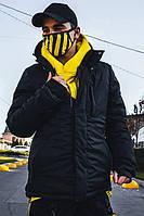 Черная зимняя куртка с капюшоном и трикотажными манжетами Пушка Огонь 8043021