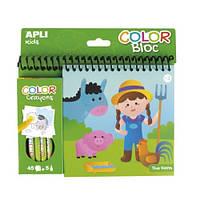 Apli Kids. Раскраска+ цветные карандаши: ферма (000015206)