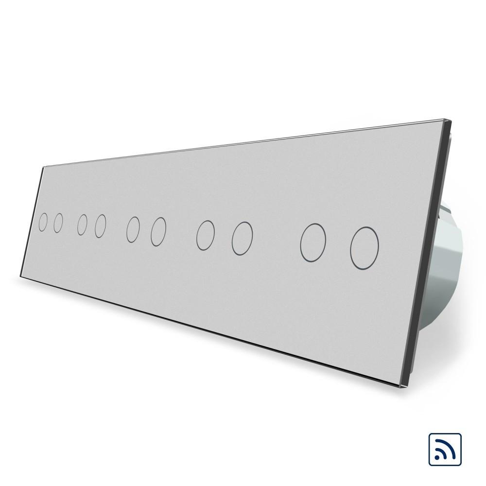 Сенсорный радиоуправляемый выключатель Livolo 10 канала (2-2-2-2-2) серый стекло (VL-C710R-15)