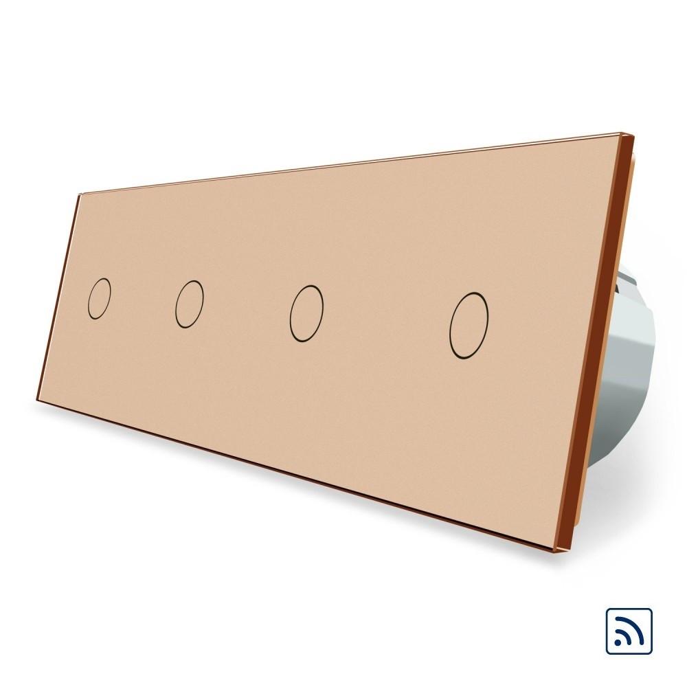 Сенсорный радиоуправляемый выключатель Livolo 4 канала (1-1-1-1) золото стекло (VL-C704R-13)