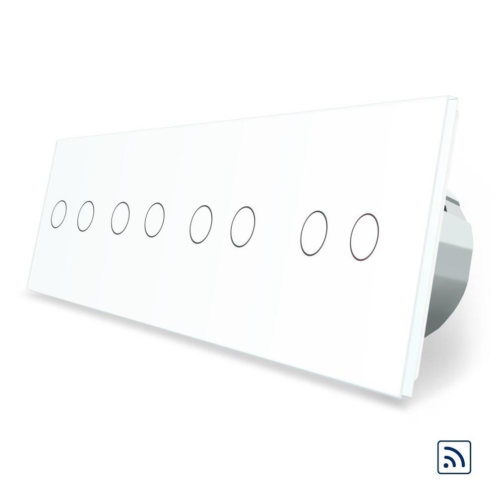Сенсорний вимикач Livolo на 8 каналів з дистанційним управлінням, білий (VL-C708R-11)