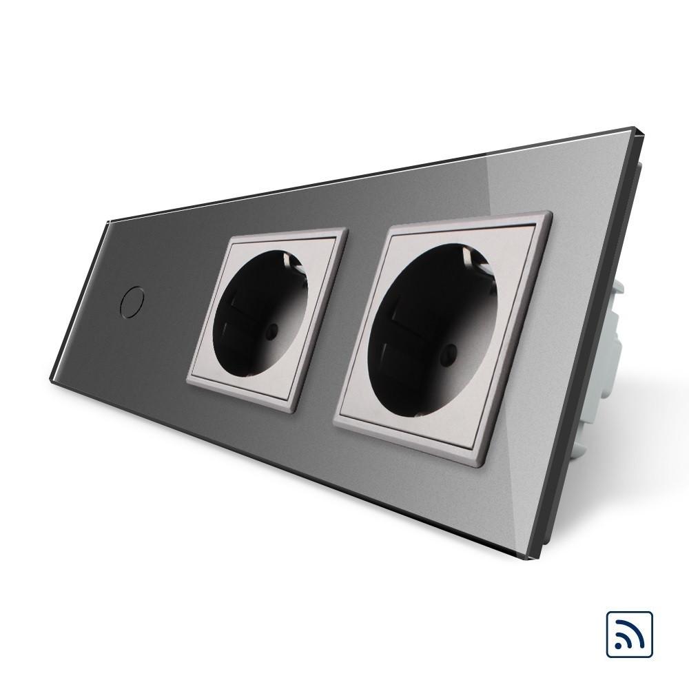 Сенсорный радиоуправляемый выключатель с двумя розетками Livolo серый стекло (VL-C701R/C7C2EU-15)