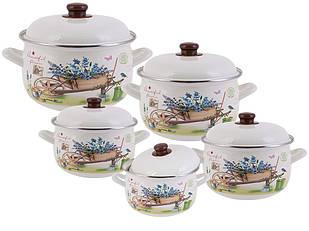 Набор эмалированной посуды Edenberg из 10 предметов Разноцветный (EB-1876)