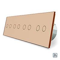 Сенсорный радиоуправляемый выключатель Livolo 8 канала (2-2-2-2) золото стекло (VL-C708R-13), фото 1