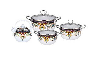Набор эмалированной посуды Edenberg 8 предметов Белый с рисунком (EB-3372-A)