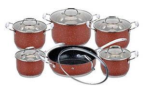Набір посуду антипригарний нержавіюча сталь Edenberg 12 предметів (EB-4045)