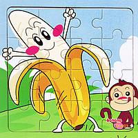 Деревянная игрушка Пазл «Банан», 16 дет., развивающие товары для детей.