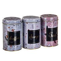 """Набор из 3-х жестяных банок """"Чай, кофе и сахар"""" 18113-016, фото 1"""