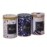 "Набор из 3-х жестяных банок ""Чай, кофе и сахар"" 12 см 18113-015, фото 1"