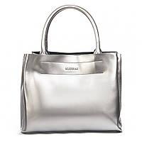 Женская кожаная сумка серебристая 08-4 1-0558
