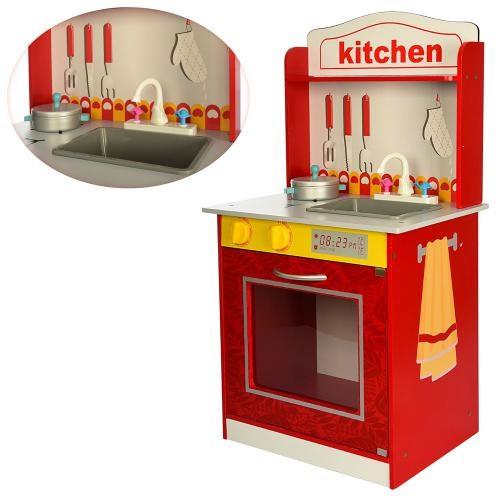 Деревянная игрушка Кухня MD 1207 (4шт) плита, посуда, 47-45-9см