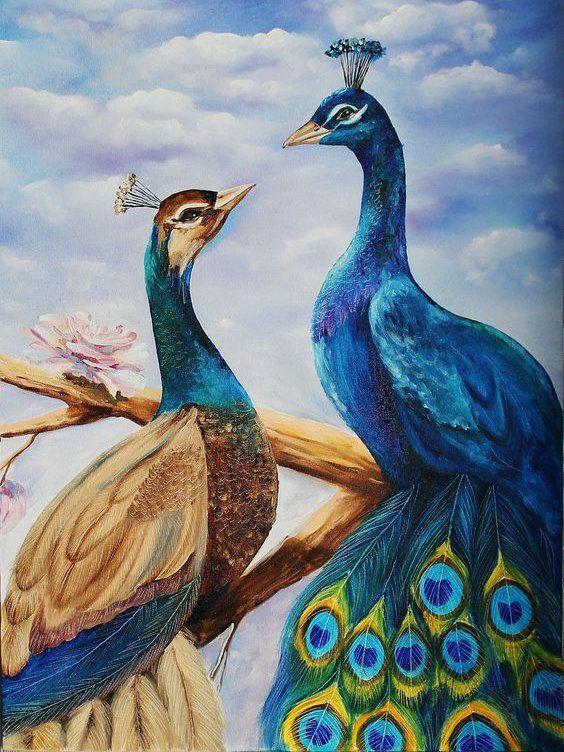 DM-299 Набор алмазной мозаики Влюбленные павлины