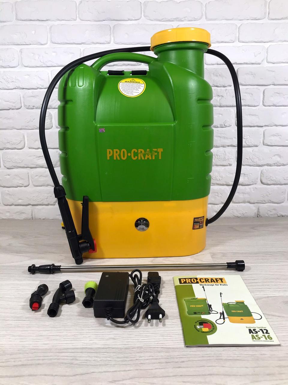 Аккумуляторный садовый опрыскиватель Procraft AS-16 Professional (16л, 12Ач.)