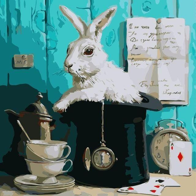 AS0323 Раскраска по номерам За белым кроликом, Без коробки