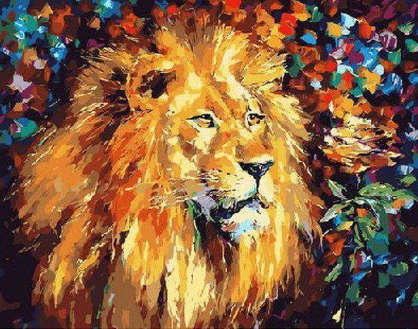 MR-Q051 Раскраска по номерам Великолепный лев. худ. Афремов Леонид
