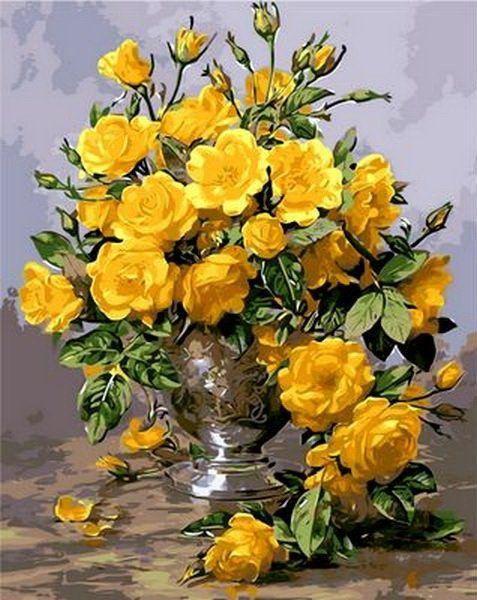 MR-Q1118 Раскраска по номерам Желтые розы в серебрянной вазе худ. Уильямс Альберт