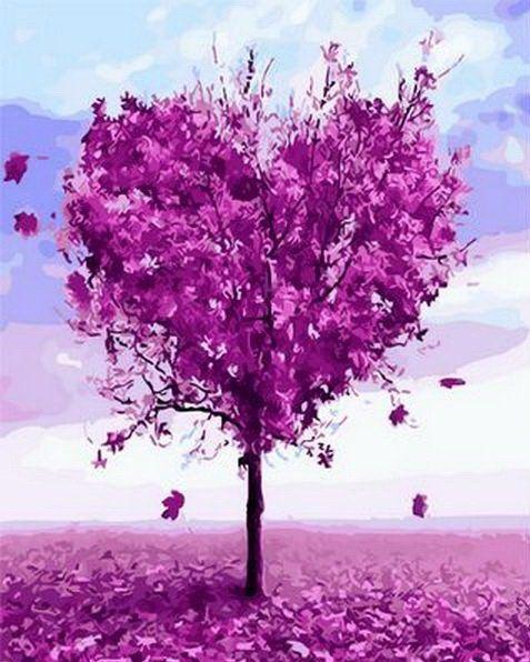 MR-Q1218 Раскраска по номерам Дерево любви