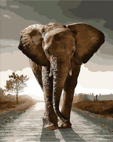 MR-Q1975 Раскраска по номерам Королевский слон