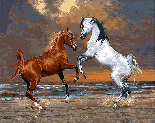 MR-Q2083 Раскраска по номерам Лошади на берегу океана