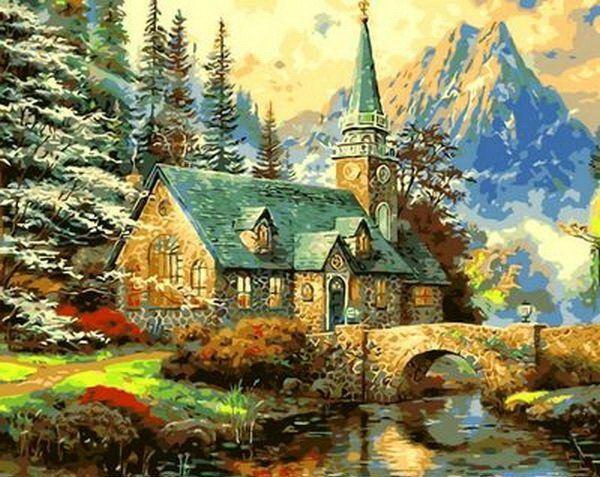 MR-Q497 Раскраска по номерам Альпийский пейзаж. Часовня худ. Томас Кинкейд
