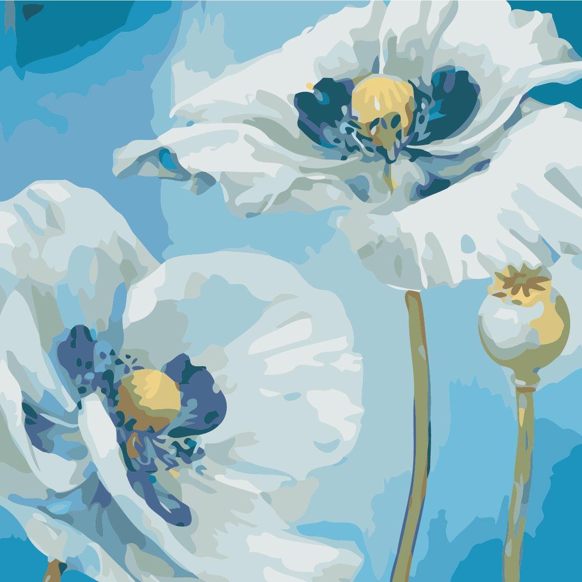 AS0504 Набор живописи по номерам Белые цветы, Без коробки